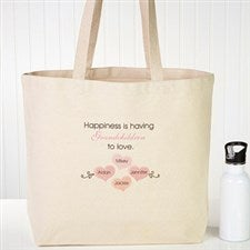 Personalized Canvas Tote Bag - Happiness Is Children - 15168