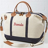 Embroidered Canvas Duffel Bag - Luxurious Weekender - 15171