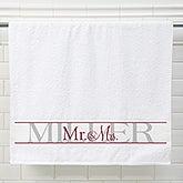 Personalized Wedding Bath Towel Set Of 2 - Wedded Pair - 15180