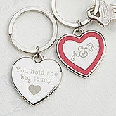 Personalized Couple's Romantic Heart Key Ring - 15187