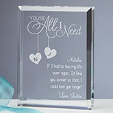 Personalized Romantic Keepsake - You're All I Need - 15194