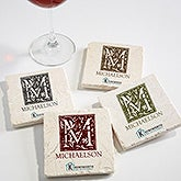Personalized Logo Tumbled Stone Coaster Set - 15203