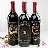 Personalized New Year Wine Bottle Labels - Happy New Year! - 15219