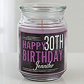 Personalized Scented Glass Candle Jar - Vintage Birthday - 15229
