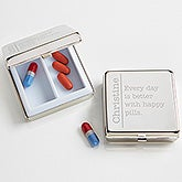 Personalized Silver Engraved Pill Box - Daily Wit - 15242