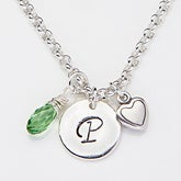 Personalized Initial Necklace With Swarovski Birthstone And Charms - 15279D