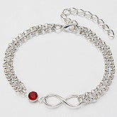 Personalized Infinity Bracelet with Swarovski Crystal - 15280D