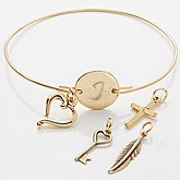 Personalized Gold Initial Charm Bracelet - 15283D