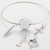 Personalized Silver Initial Charm Bracelet - 15284D