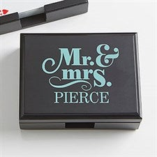 Personalized Wood Playing Card Box - Happy Couple - 15296