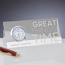 Personalized Crystal Desk Clock Nameplate - Embrace The Future - 15310