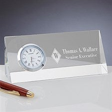 Personalized Crystal Desk Clock Nameplate - Executive Monogram - 15311