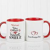 Personalized Romantic Coffee Mug - You Make My Heart Smile - 15314