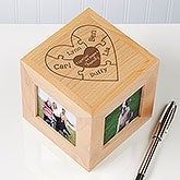 Personalized Wood Photo Cube - Together We Make A Family - 15368