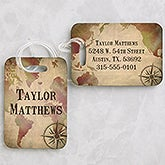 Personalized Luggage Tag Set - World Map - 15436