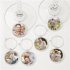 Personalized Photo Wine Charm Set - 6 Pieces - 15445