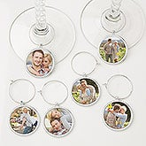 Personalized Photo Wine Charm Set - 6 Pieces - 15445