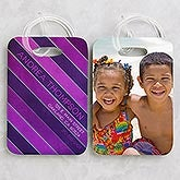 Personalized Photo Luggage Tag Set - Stripes - 15447