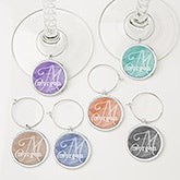 Personalized Wine Charm 6 Piece Set - Watercolor Name - 15452