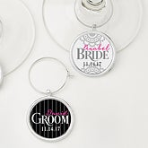 Personalized Wedding Wine Charms 2 Piece Set - Bride and Groom - 15453