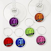 Personalized Birthday Wine Charm 6 Piece Set - Birthday Celebration - 15454