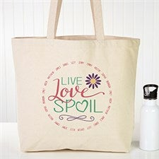 Personalized Canvas Tote Bag - Live, Love, Spoil - 15475