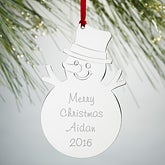 Engraved Silver Snowman Christmas Ornament - 15476