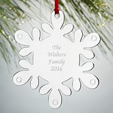 Personalized Silver Snowflake Christmas Ornament - 15478