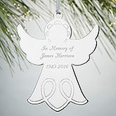 Personalized Silver Memorial Ornament - Angel - 15480