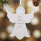 Personalized Silver Angel Christmas Ornament - Religious Sacrament - 15481