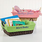 Embroidered Gingham Check Basket Liner - My Name - 15536
