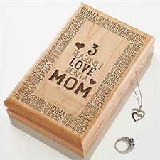 Engraved Wood Jewelry Box - Reasons Why - 15541