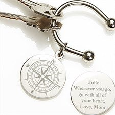 Personalized Silver-Plated Key Ring - Compass Inspired - 15590