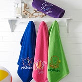 Embroidered Beach Towels - Go Fish! - 15602