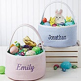 Embroidered Seersucker Gingham Easter Basket - 15606