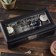 Engraved Glass Leather Watch Box - Timeless Message - 15648