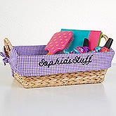Embroidered Check Basket Liner - Sassy Girl - 15672
