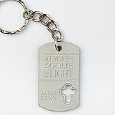Personalized Cross Dog Tag Keychain - God's Light - 15689