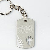 Personalized Cross Keychain - Bless This Driver - 15691
