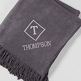 Embroidered Monogram Elegance Throw Blanket - 15696