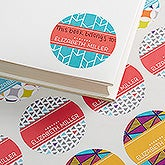 Personalized School Book Stickers - Geometric Pattern - 15702