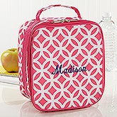 Geo Pink Embroidered Lunch Tote - 15720