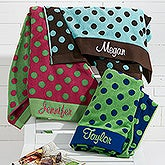 Embroidered Polka Dot Beach Towel - 15726