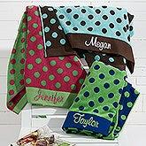 Embroidered Polka Dot Beach Towel - 15726