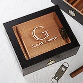 Premium Black Personalized Cigar Humidor - 50 Count - 15745