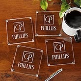 Personalized Glass Coaster Set Of 4 - Square Monogram - 15752