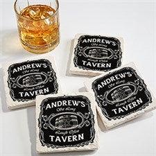 Personalized Tumbled Stone Coaster Set - Whiskey Label - 15762