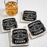 Personalized Tumbled Stone Coaster Set - Whiskey Label - 15762