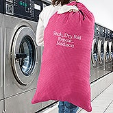 Embroidered Pink Laundry Bag - Write Your Own - 15763