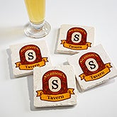 Personalized Tumbled Stone Coaster Set - Vintage Bar - 15765